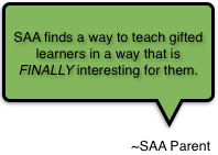 SAA finds a way to teach gifted learners in a way that is FINALLY interesting for them.