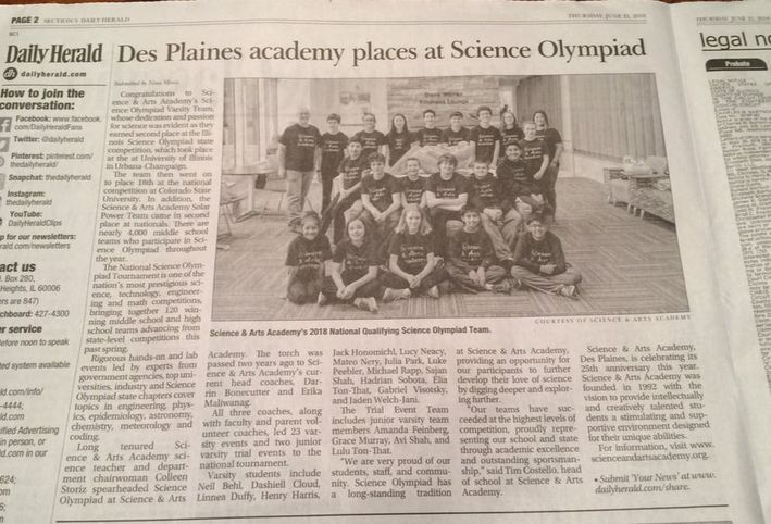 Photo of Daily Herald Article about our Science Olympiad team going to nationals